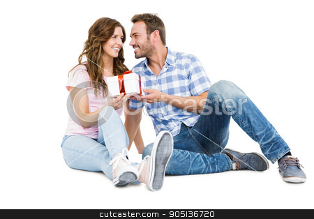 Man giving a gift to his woman stock photo, Man giving a gift to his woman on white background by Wavebreak Media