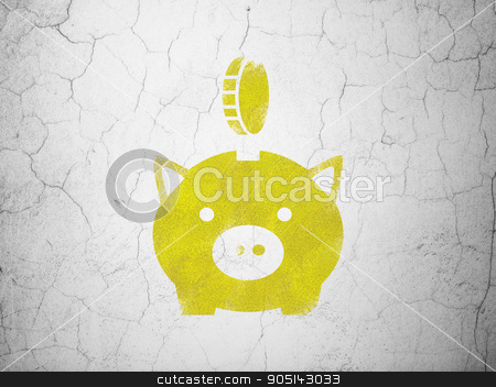 Currency concept: Money Box With Coin on wall background stock photo, Currency concept: Yellow Money Box With Coin on textured concrete wall background by mkabakov