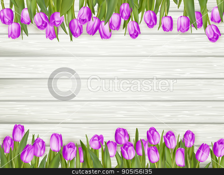 March 8 Women s Day greeting card. EPS 10 stock vector clipart, Beautiful tulips on wooden background. Top view, copy space. EPS 10 vector file included by Vladimir Petrov