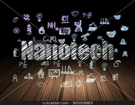 Science concept: Nanotech in grunge dark room stock photo, Science concept: Glowing text Nanotech,  Hand Drawn Science Icons in grunge dark room with Wooden Floor, black background by mkabakov