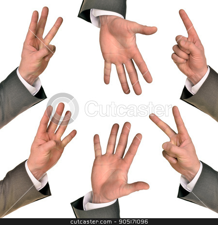 Set of businessmans hands stock photo, Set of businessmans hands gesturing isolated on white background by cherezoff