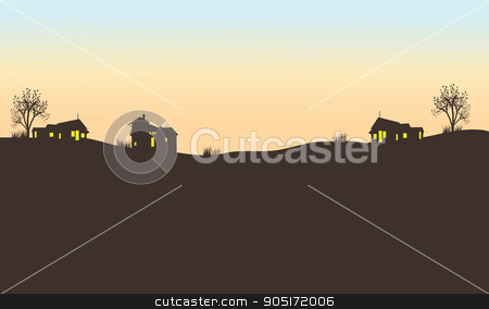 Silhouette of house in field stock vector clipart, Silhouette of house in field at the afternoon by Hanief Iksa