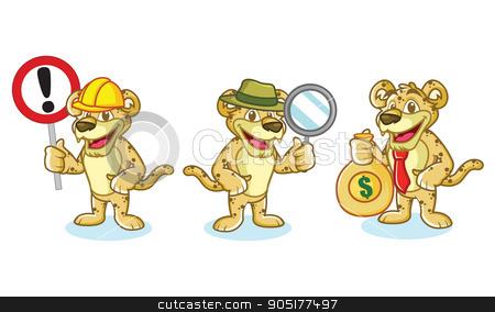 Jaguar Mascot Vector with money stock vector clipart, Jaguar Mascot Vector with money, sign and magnifying by Hanief Iksa