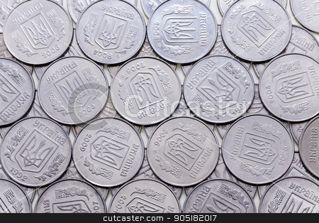 heap of metal coins   stock photo,   photographed close-up metal coins stacked in a pile, the background of the coins by ihar leichonak