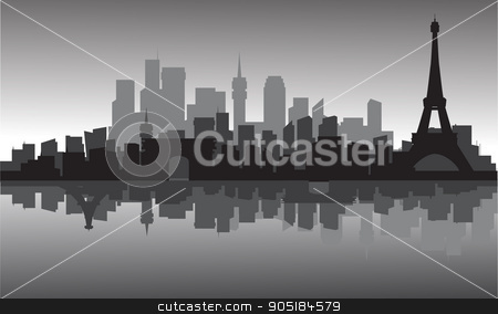 silhouette of city and eiffel tower stock vector clipart, silhouette of city and eiffel tower with gray backgrounds by Hanief Iksa