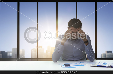 close up of anxious businessman with papers stock photo, business, deadline, fail, people and stress concept - close up of anxious businessman with papers and smartphone by Syda Productions