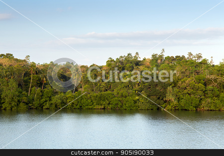 view to lake or river from land hills on Sri Lanka stock photo, travel, tourism, nature and landscape concept - view to lake or river from land hills on Sri Lanka by Syda Productions