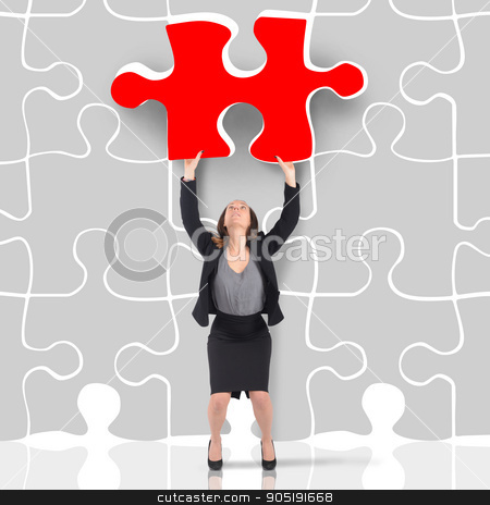 Missing piece stock photo, Woman enters a red missing puzzle piece by Federico Caputo