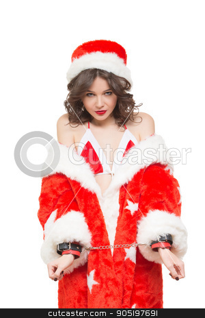 Sexy Snow Maiden Headphones For Sex Games Isolated On White Background Santa Girl