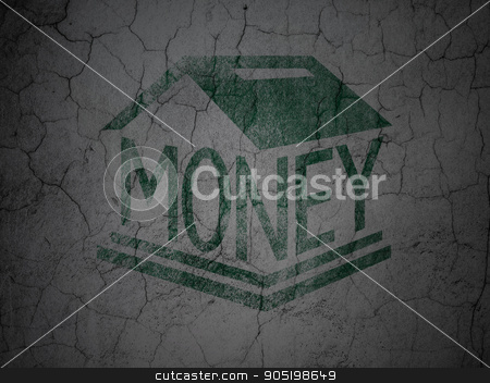 Money concept: Money Box on grunge wall background stock photo, Money concept: Green Money Box on grunge textured concrete wall background by mkabakov