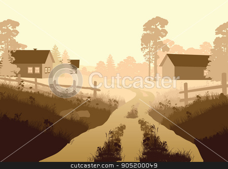 Vector illustration of a beautiful village stock vector clipart, Vector illustration of a beautiful rural landscape by ElemenTxD