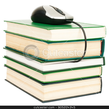 Computer mouse on stack of books stock photo, Computer mouse on stack of books. Isolated on white by cherezoff