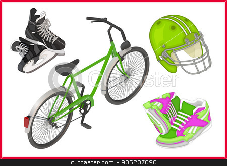 Spert equipment set isometric flat  stock vector clipart, Spert equipment set of isometric flat vector 3d illustrations - ice skates, bicycle, sneakers for running, football rugby helmet.  by Danil Trapeznikov