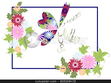 Happy Mothers Day floral greeting with abstract butterfly. EPS10 vector illustration stock vector clipart, Happy Mothers Day floral greeting with abstract butterfly. EPS10 vector illustration by volartman
