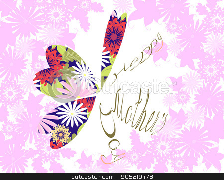Happy Mothers typographical background with a butterfly from hearts. EPS10 vector illustration stock vector clipart, Happy Mothers typographical background with a butterfly from hearts. EPS10 vector illustration by volartman