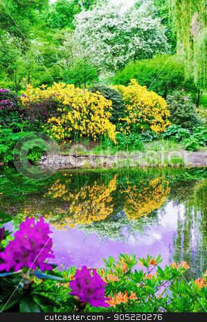 Lush vegetation by the pond stock photo, Lush vegetation by the pond in spring time by Dariusz Miszkiel