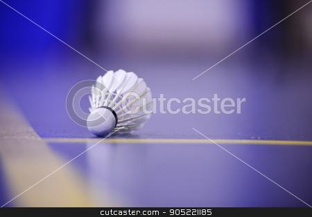 shuttlecock and Badminton Court stock photo, shuttlecock and Badminton Court by Iliya Mitskavets