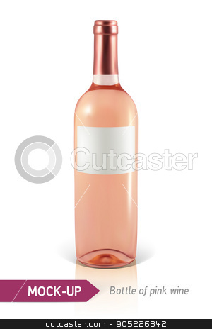 bottle of rose wine stock vector clipart, Mockup realistic bottle of rose wine on a white background with reflection and shadow. Template for wine label design. by D0r0thy