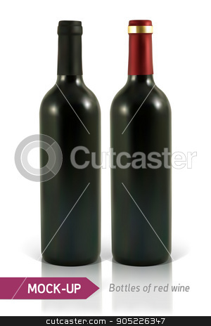 bottle of red wine stock vector clipart, Mockup two realistic bottle of red wine on a white background with reflection and shadow. Template for wine label design. by D0r0thy