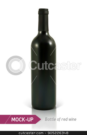 bottle of red wine stock vector clipart, Mockup realistic bottle of red wine on a white background with reflection and shadow. Template for wine label design. by D0r0thy