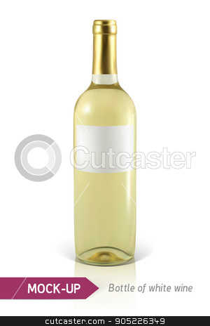 bottle of white wine stock vector clipart, Mockup realistic bottle of white wine on a white background with reflection and shadow. Template for wine label design. by D0r0thy