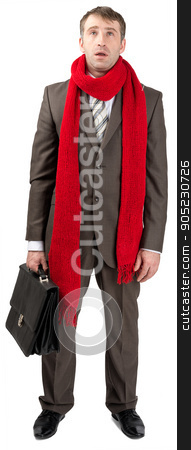 Businessman with sore throat stock photo, Businessman with sore throat in red scarf isolated on white background by cherezoff