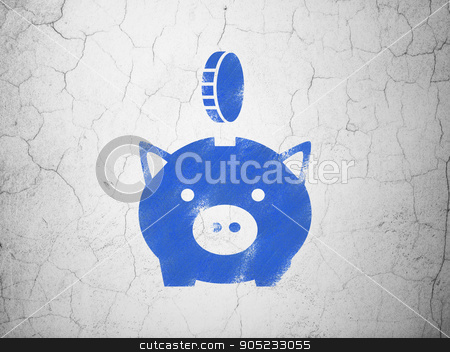 Banking concept: Money Box With Coin on wall background stock photo, Banking concept: Blue Money Box With Coin on textured concrete wall background by mkabakov