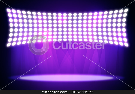 Spotlights shining in dark place background stock photo, Spotlights shining in dark place background. Template for your texts and products by cherezoff