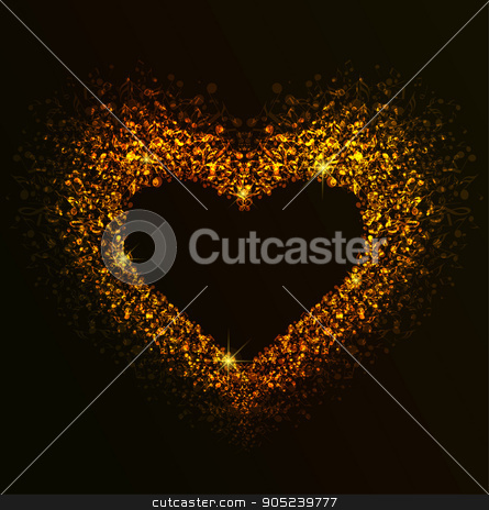 Golden Heart of notes stock vector clipart, Background with heart made up of musical notes, Golden Heart by Miroslava Hlavacova