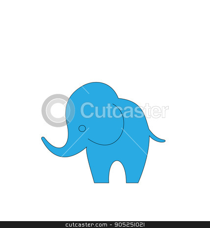 Cartoon Elephant Isolated on White Background stock vector clipart, Illustration of Cartoon Elephant Isolated on White Background, Hand Drawn Animal - Vector by -=Mad Dog=-