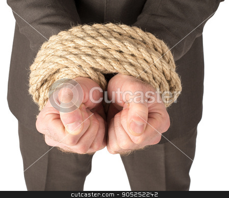 Businessman bound with rope stock photo, Businessman bound with rope isolated on white background by cherezoff