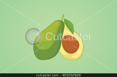 two avocado sliced single object isolated with green background vector graphic stock vector clipart, two avocado sliced single object isolated with green background vector graphic illustration by teguhjatipras