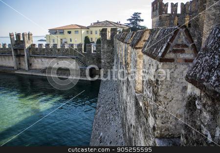 Old walls around Sirmione, italian town on Lake Garda stock photo, Old walls around Sirmione, italian town on Lake Garda. Historical view of Italy by Stefano Cavoretto
