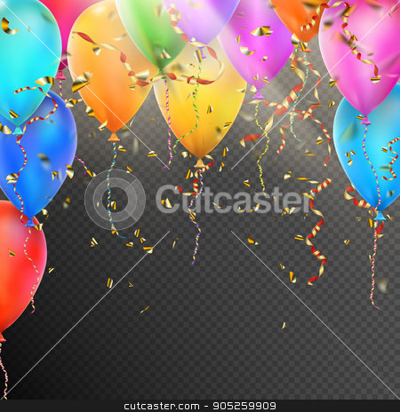 Balloons, confetti and red gold ribbons. EPS 10 stock vector clipart, Celebration background template with balloons, confetti and red gold ribbons on transparent background. EPS 10 vector file included by Vladimir Petrov