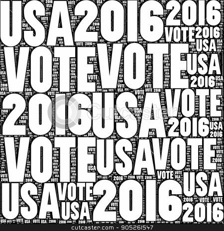 Vote USA 2016 stock photo, Black and white VOTE USA 2016 sign. by Henrik Lehnerer