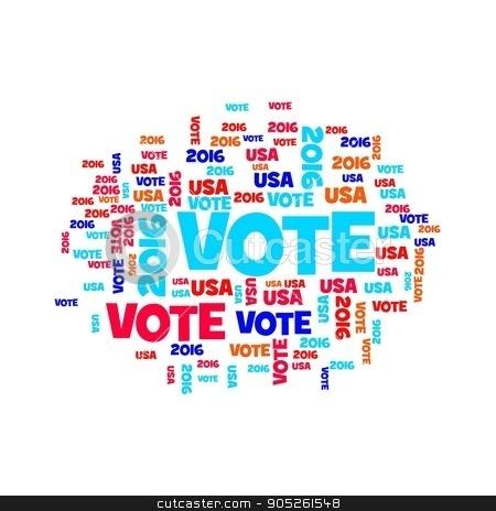 Vote USA 2016 stock photo, Red white and blue vote USA 2016 sign. by Henrik Lehnerer
