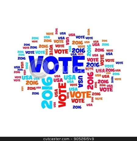 Vote USA 2016 stock photo, Red white and blue vote USA 2016 sign. by Henrik Lehnerer