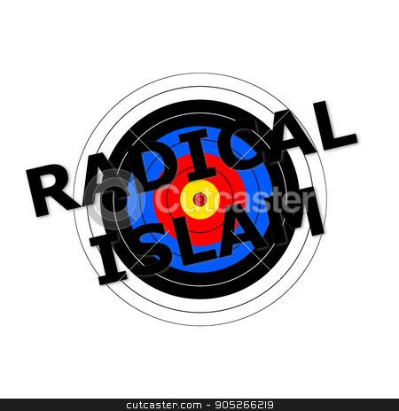 Radical Islam Target stock photo, Target background with the writing Radical Islam over it. by Henrik Lehnerer