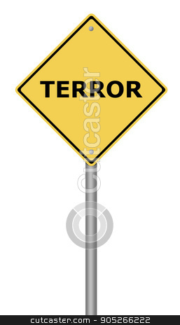 Terror Warning Sign stock photo, Yellow warning sign with the text Terror. by Henrik Lehnerer