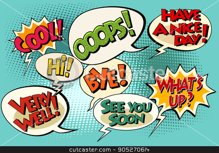 Set of retro comic bubbles pop art phrases stock vector clipart, Set of retro comic bubbles pop art phrases vector. Wats up. Very well. See you soon. Have a nice day Hi, Bye, Cool, Ooops by studiostoks