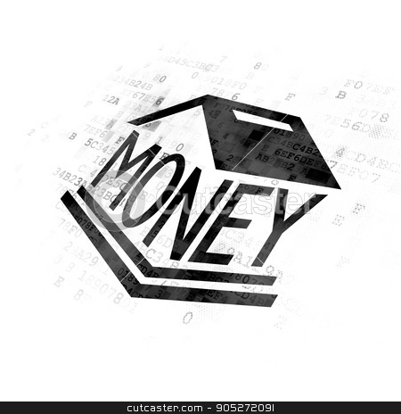 Money concept: Money Box on Digital background stock photo, Money concept: Pixelated black Money Box icon on Digital background by mkabakov