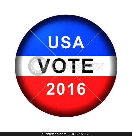 Vote Button 2016 stock photo, Red white and blue vote button for 2016 by Henrik Lehnerer