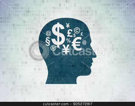 Studying concept: Head With Finance Symbol on Digital Data Paper background stock photo, Studying concept: Painted blue Head With Finance Symbol icon on Digital Data Paper background by mkabakov