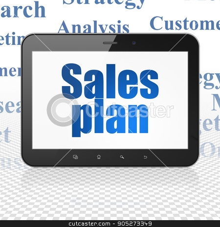 Marketing concept: Tablet Computer with Sales Plan on display stock photo, Marketing concept: Tablet Computer with  blue text Sales Plan on display,  Tag Cloud background, 3D rendering by mkabakov