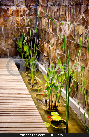 Water pond with plants in vases beside a wooden path stock photo, Water pond with plants in vases beside a wooden path near to wet and brick wall by JRstock