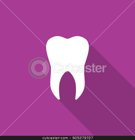 Tooth icon with long shadow stock vector clipart, Tooth icon with long shadow. Vector illustration EPS 10 by ROman