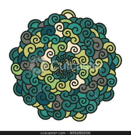 Hand drawn colorful curl Mandala isolated on white background. stock vector clipart, Hand drawn colorful curl Mandala isolated on white background. Ethnic decorative element. Vector illustration. by verock