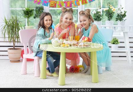 children with cake at birthday party stock photo, Happy  children with cake at birthday party by Ruslan Huzau