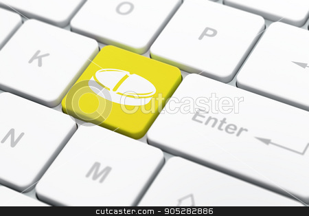 Health concept: Pill on computer keyboard background stock photo, Health concept: computer keyboard with Pill icon on enter button background, selected focus, 3D rendering by mkabakov