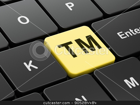 Law concept: Trademark on computer keyboard background stock photo, Law concept: computer keyboard with Trademark icon on enter button background, 3D rendering by mkabakov